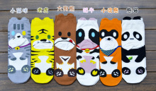 120pairs/lot 2017 new fashion women cartoon animal zoo/tiger/cow/bear/panda/racoon/cat cotton sock