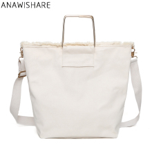 ANAWISHARE Casual Women Handbags Canvas Large Tote Summer Beach Shoulder Bag White Crossbody Bags For Women Bolsa Feminina(China)