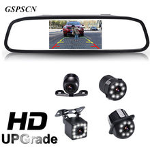 "GSPSCN 2 in 1 Car 12 LED Night Vision Rear View Backup Camera With HD 4.3"" Car HD Video Auto Parking Rearview Mirror Monitor(China)"