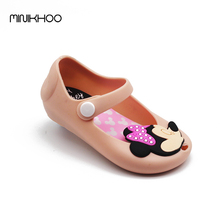 Mini Melissa 2017 New Mickey & Minnie Jelly Shoes Baby Boys Girls Sandals Soft Comfort Toddler Girl Melissa Beach Sandals Kids