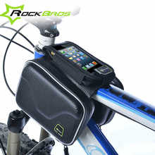 RockBros Carbon Pattern Waterproof Bike Ride Bicycle Frame Front Head Top Tube Bag Cycling Pannier Cell Phone Smartphone Case(China)