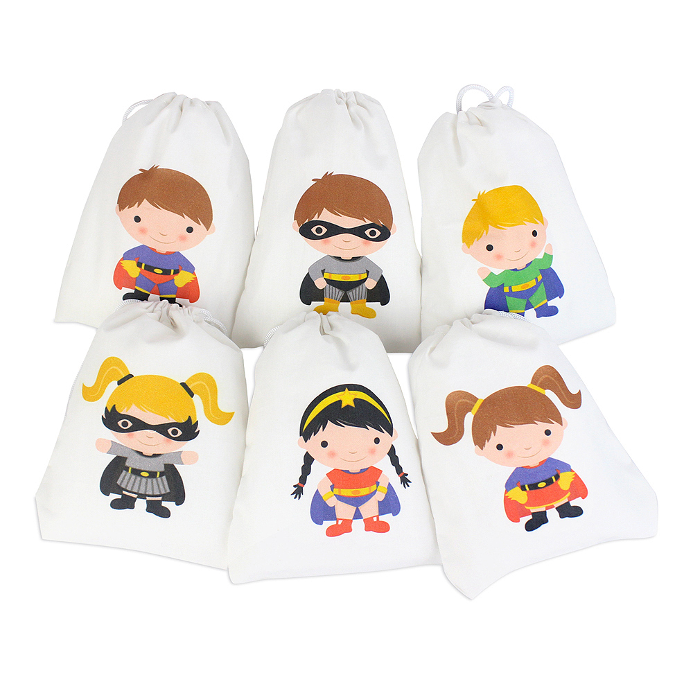 Super Hero Paper Party Bags x 6 Blue Loot Bags Boys Birthday Favour Kids