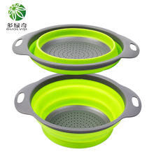 sieve silicone foldable fruit vegetable washing basket drainer kitchen tools strainer silicone colander fruit vegetable washing basket basket vegetable drainer strainer(China)
