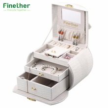 Finether Embossed Crocodile Grain Faux Leather Pattern Jewelry Box Arched Lockable Storage Organizer Cosmetic Makeup Case Gift