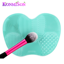 Konmison Sucker Silicone Cosmetic Makeup Brush Cleanser Mat On Handbasin Washing Pad Scrubber Board Washing Makeup Cleaning