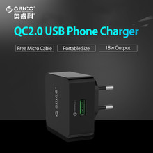 Buy ORICO Quick Charge QC 2.0 Mobile Phone USB Wall Desktop Charger Free Micro USB Cable iPhone iPad Samsung Xiaomi S8 for $8.99 in AliExpress store