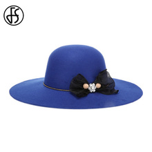 FS Royal Blue Red Black Ladies Wool Fedora Hats Winter Women Wide Brim Bowknot Cloche Hat Chapeu Feminino Vintage(China)