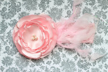 Coral Satin Flower Headband with Feather Girl Headband Feather Headband Hair Accessories