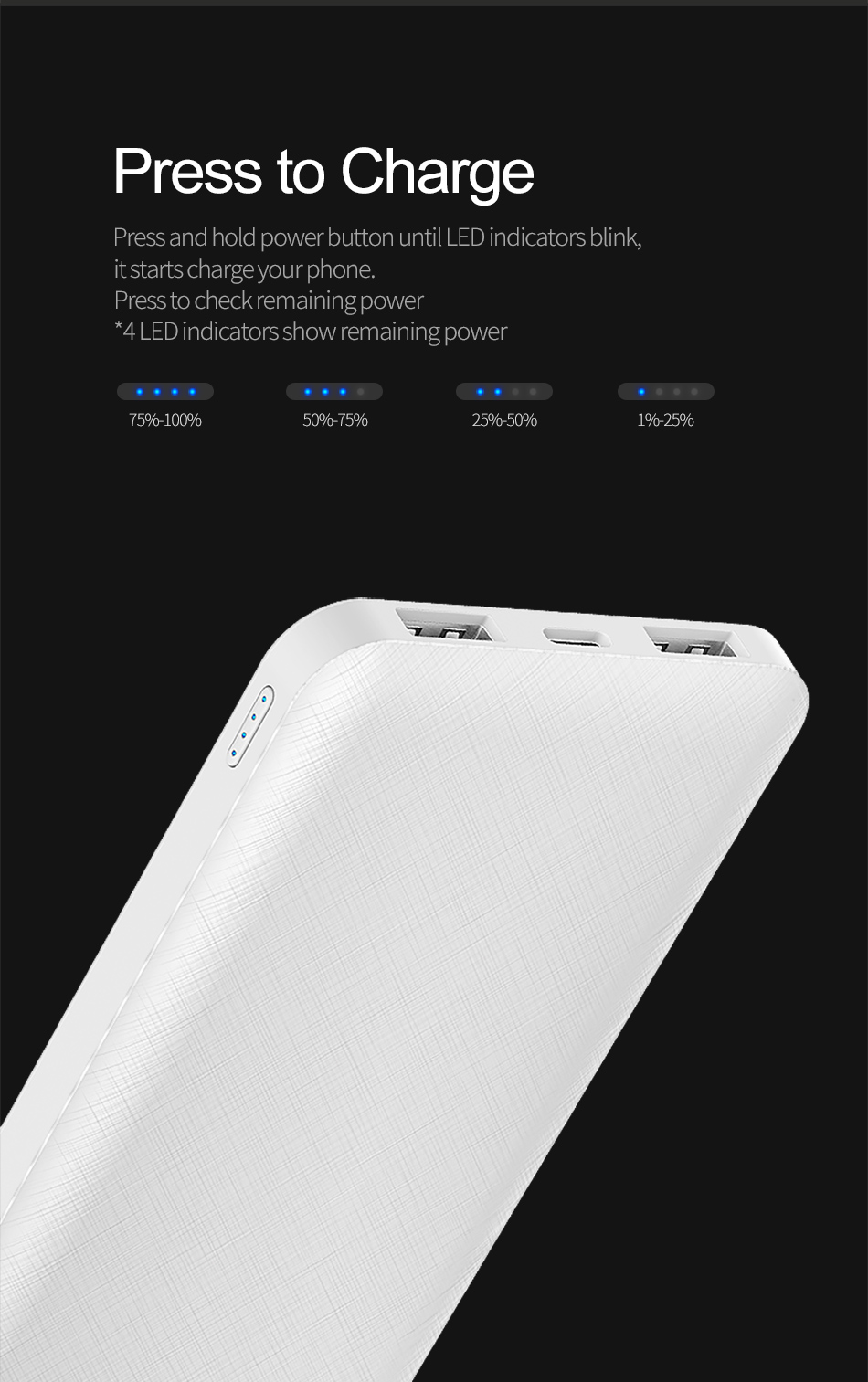 ROCK Slim 10000 mAh Power Bank,Portable Ultra-thin Polymer Powerbank battery power-bank 10000mah With LED Light for Mobile Phone 18