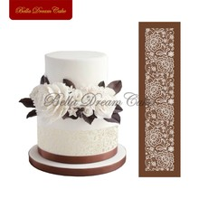 New Design Flowers Cake Mesh Stencils Lace Fondant Mat for Wedding Cake Pastry Baking Tools Moulds Fabric Bakeware Molds MST-42