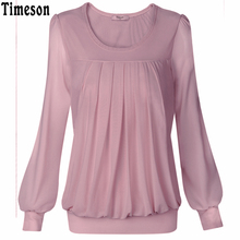 Timeson 2017 Summer Shirts Ladies Long Sleeve Blouses Women New Brand Round Neck Casual Solid Pleated Tops and Blouses