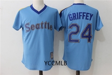 MLB Men's Seattle Mariners 24 Griffey Blue Baseball Throwback Cool Base Player Jersey Free Shipping(China)