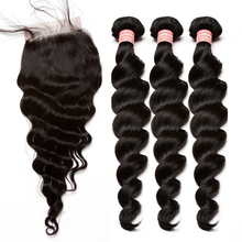 Brazilian Virgin Hair Weave 3 Bundles With Closure Loose Wave Human Hair Bundles With Closure Bleached Knots Baby Hair You May(China)