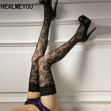 Sexy Fashion 1Pair Women Lace Floral Print Stay Up Thigh High Stocking Sexy Lingerie Pantyhose Stockings Black(China)