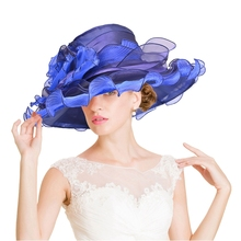 2017 Women Hat for Summer Blue 4 Layers Organza wide Brim luxury Sun Hat Ladies Floppy Hat For Kentucky Derby Weeding Church Hat