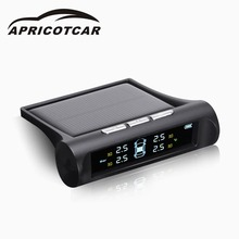 Car Solar TPMS Car Tire Pressure LCD Color Display Monitoring System Wireless + 4 Sensors Auto Alarm System Car Electronics(China)