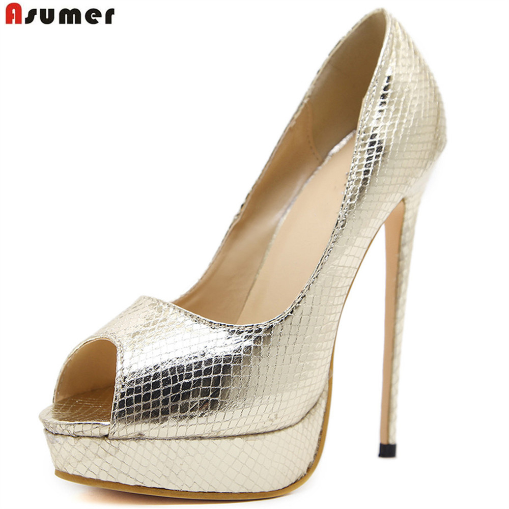 ASUMER gold silvery fashion spring auutmn ladies wedding shoes peep toe shallow elegant women super high heels shoes<br>