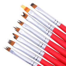 8Pcs Smile Moon Shaped Acrylic French Nail Art Brush Set UV Gel Polish Gradient Color Tips 3D DIY Painting Drawing Liner Pen