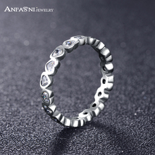 ANFASNI Fashion 100% 925 Sterling Silver Love Heart Forever Rings With Clear CZ For Women Wedding Jewelry PSRI0060-B