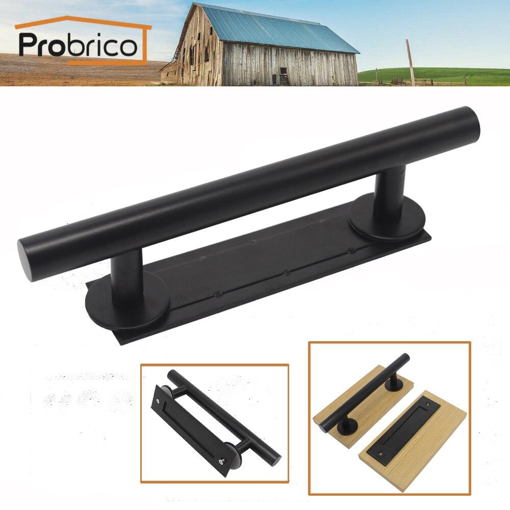 Probrico Rustic Black Barn Door Handle Steel Hollow Sliding Invisibe Wood Door Pulls Recessed Flush Door Handles Grab Bar<br>