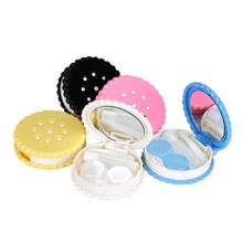 New 1pc Cutie Biscuit Contact Lens Case Candy color Cookie Cake Lenses Storage Box SE13(China)
