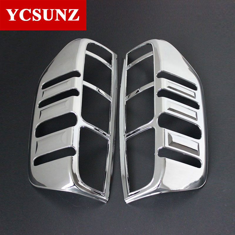 Car Chrome Navara 2006 Accessories Tail Light Cover Lamp Trim For Nissan Frontier Navara D40 2006-2013 Car Styling Plate Part(China)