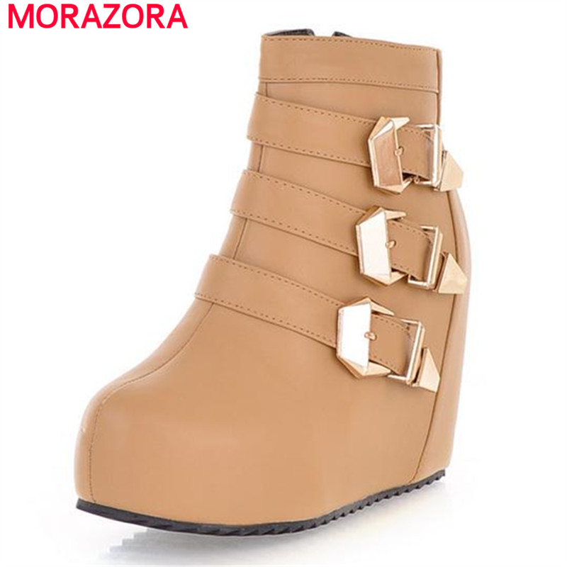 MORAZORA High quality hot sale solid buckle zipper platform boots women shoes autumn ankle boots height increasing pu<br>