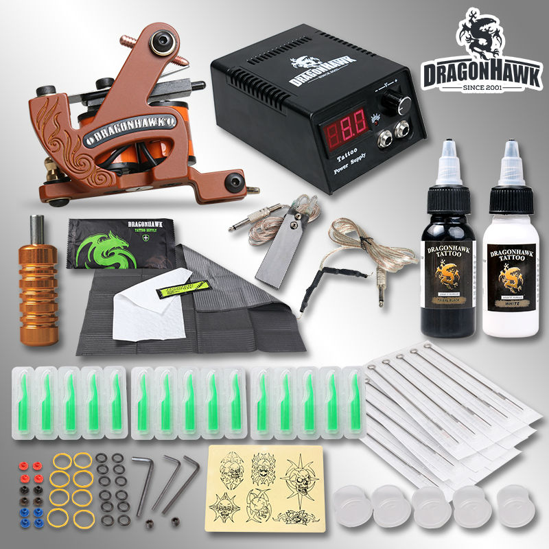 New Style Professional Coloring Machine Tattoo Kit Set Inks Needles Grips Tips Tattoo Supply With Free Gift <br><br>Aliexpress