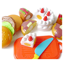 6pcs Plastic Cutting Birthday Party Cake Hamburg Slice Baby Kitchen Food Pretend Play House Artificial Classic Toy Children Kids
