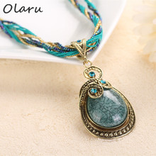 Olaru Vintage Bohemia Beads Drop Personality Pendant Necklace Woman Statement Maxi Nation Ethnic Necklace Fashion Jewelry B17(China)