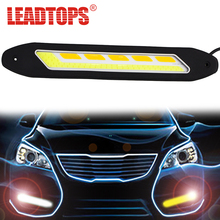 2PCS Flexible Side Turn Signals Light Waterproof Car Styling COB LED Daytime Running Lights DRL Fog Lights for KIA RIO VW CA(China)