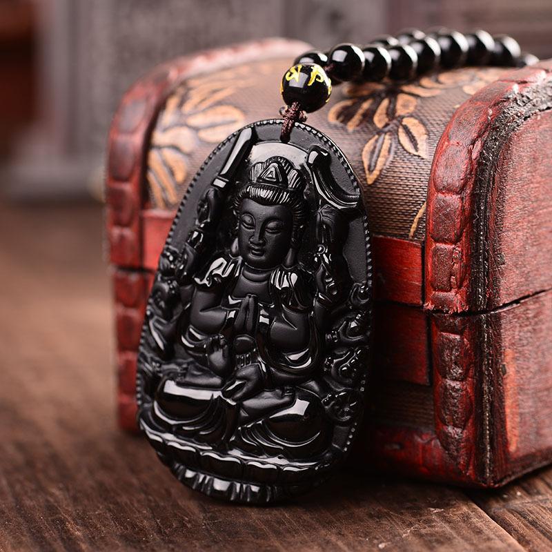 Powerful Amulet Buddha Obsidian   Charm and Amulet