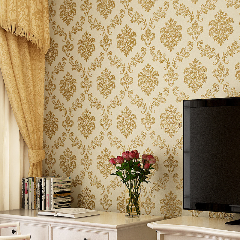 beibehang fabric European - style 3d pressure wall paper Damascus living room bedroom TV background wallpaper papel de parede<br>