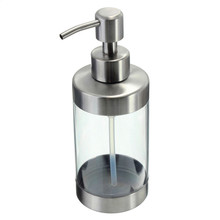 Bathroom Liquid Soap Dispenser Transparent Body Hand Soap Dispenser Lotion Bottle Stainless Steel Pump Head