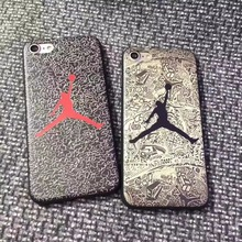 Fashion Brand Jordan NBA Case Red Black Matte Soft TPU Silicone Phone Case Cover Coque Fundas Capa for iPhone7 6 6s 6 Plus 5S SE