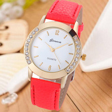 Hot fashion creative watches  Luxury  Watch Geneva Vintagetop brand leather bracelet lady girl Watch  Femme Relojes Mujer Gift