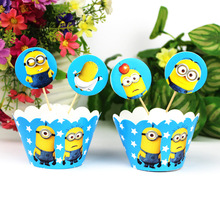 24pcs Cartoon Fashion Kawaii Creative Yellow Minions kids party Birthday decoration cake topper cups (12 wraps+12 topper) BJ72
