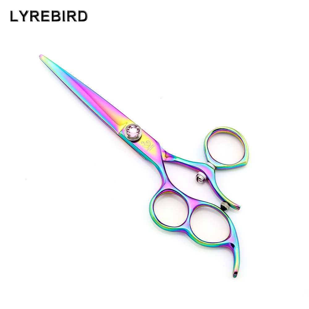 Lyrebird HIGH CLASS Left hand hair shears 6 INCH 180 swivel Japan hair scissors Rainbow hair cutting scissors NEW<br>