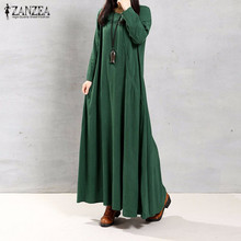 Buy 2017 Autumn ZANZEA Women Retro Long Dress O Neck Long Sleeve Pockets Casual Loose Solid Ankle Length Dress Vestidos Oversized for $12.85 in AliExpress store