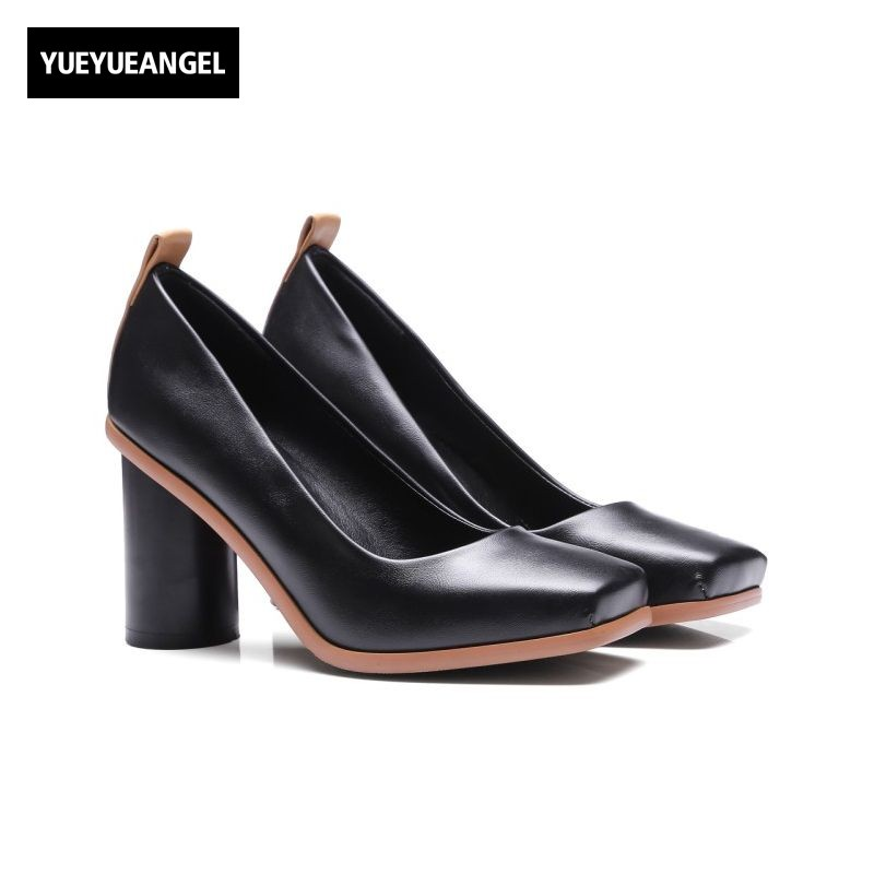 2017 Autumn New Arrival Retro Square Toe Ladies Shoes Block High Heel Office Lady Footwear Slip On Comfort Womens Shoes Pumps<br>
