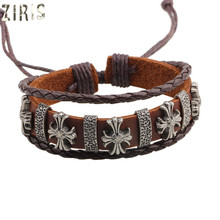 ZIRIS  foreign  land emotional appeal  hand chain cross ornament dermis decoration weave  leather women men Fashion bracelet