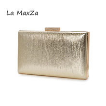 2017 New fashion women fine minaudiere handbag for dinner Hasp gold PU cortex mini Messenger luxury Day Clutch party Evening bag