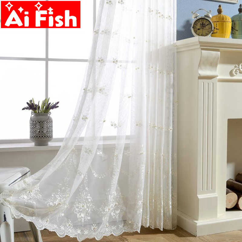 White Beautifully Fairy Embroidery Pearl Screens Crafts Yarn Europe Country Style Gauze Curtain For Living Room Luxury AP267-30