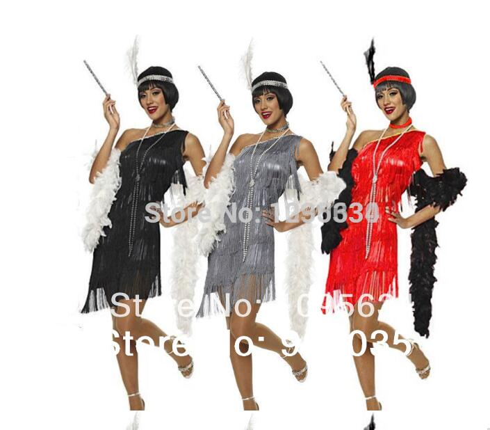 Purple//Black Flapper Costume Womens Fancy Dress 20s Feather Headband Adult NEW