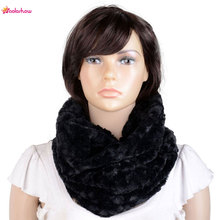 AOLOSHOW Circle Necklace Faux fur scarf for Women Warmer infinity cowl circle loop scarf female fur collar soft echarpe NL-2131(China)