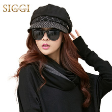 SIGGI Women Wool Newsboy Cap Winter Hat Cabbie Painter Patchwork Visor Beret Winter 68107(China)