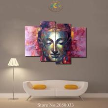 3 or 4 Pieces Religion Buddha Mosaic Gold Modern Home Wall Art Home Decoration Canvas Picture HD Printed Painting On Canvas(China)