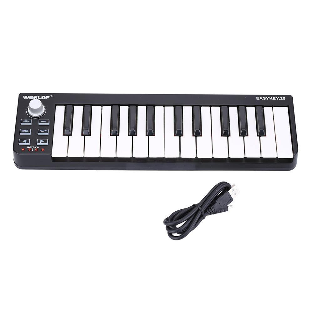 Worlde Easykey 25 Keyboard Mini 25-Key USB MIDI Controller Musical<br>