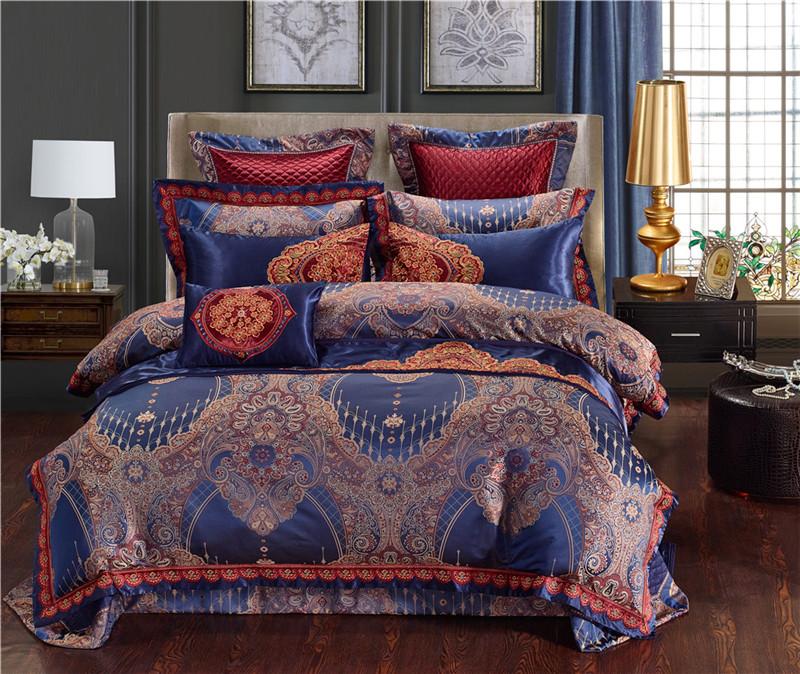 Luxury Bedding Set, Silk Satin Jacquard Bedding Set, Queen, King, Duvet Cover,Bed Linen Flat Sheet Set 24