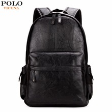 VICUNA POLO Famous Brand Preppy Style Leather School Backpack Bag For College Simple Design Men Casual Daypacks mochila male New(China)
